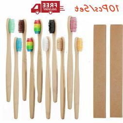 10Pcs Rainbow Wooden Toothbrush Eco-Friendly Bamboo Soft Fib