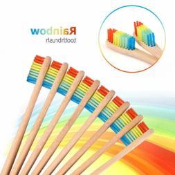 10x Bamboo Toothbrush Manual Rainbow Wood Teeth Brush Health