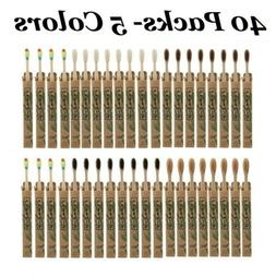 40X Natural Bamboo Toothbrush Eco-Friendly Soft Bristles Too