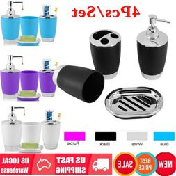 4Pcs/set Bathroom Accessories Lotion Bottle Soap Dish Cup To