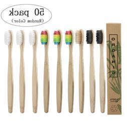 50X Natural Bamboo Toothbrush Eco-Friendly Soft Bristles Too