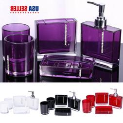 5Pcs Bathroom Accessories Set Cup Toothbrush Holder Soap Dis