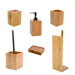 Ecobio Bamboo Bath Set Accessories Set of 6 Pieces