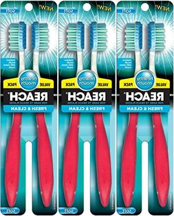 Reach Fresh and Clean Soft Toothbrushes, Colors Vary, 2 Coun