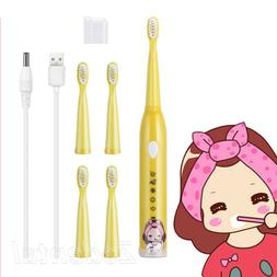 Electric Toothbrush Children Kids Tooth Brushes with 5 Soft