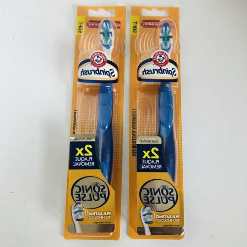 2 Spinbrush Sonic Powered Soft Toothbrushes 2x Plaque