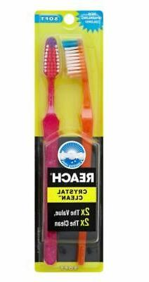 Reach Crystal Clean Soft Value Pack Adult Toothbrushes, 2 ea