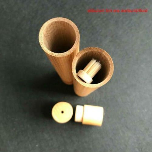 Toothbrush Wooden Tooth Brush Soft-bristle Fibre Holder Handle Tube