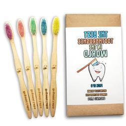 Natural Bamboo Toothbrush BPA Free Color Bristles Pack of 5