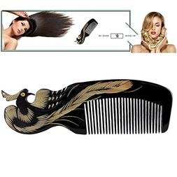 Natural Ox Horn Hair Comb, Anti Static Wide Tooth Combs Hand