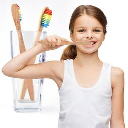 Rainbow Bamboo Wood Disposable Toothbrush Soft Bamboo Oral C