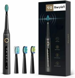 Sonic Electric Toothbrush Rechargeable 4x Brush Heads 507 Bl