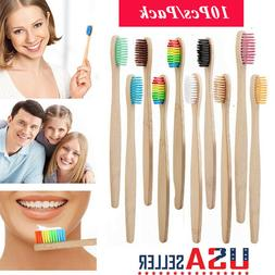 US 10 Packs Wooden Toothbrush Home Eco-Friendly Bamboo Soft