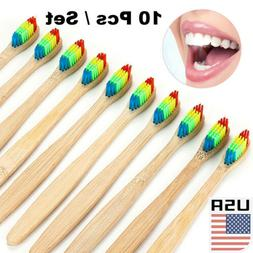 10Pcs/Set Wooden Tooth Brush Bamboo Toothbrush Oral Care Han