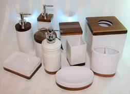 Royal Hotel White Porcelain & Bamboo/Teak Brown Wood BATH AC